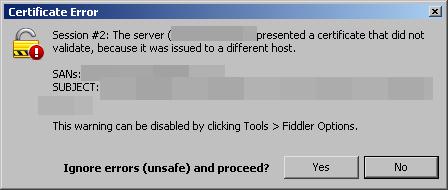 Setting up ProxyCap, Fiddler, and fixing SSL/TLS errors
